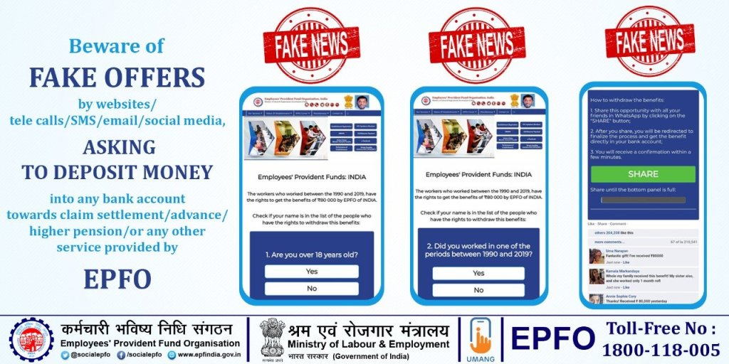 Image of EPFO warning about fake offers