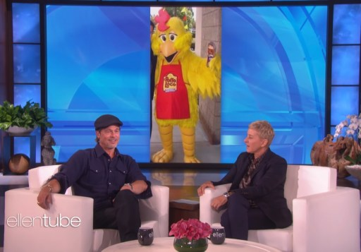 Image of Brad Pitt speaking about the Chicken suit on The Ellen DeGeneres Show
