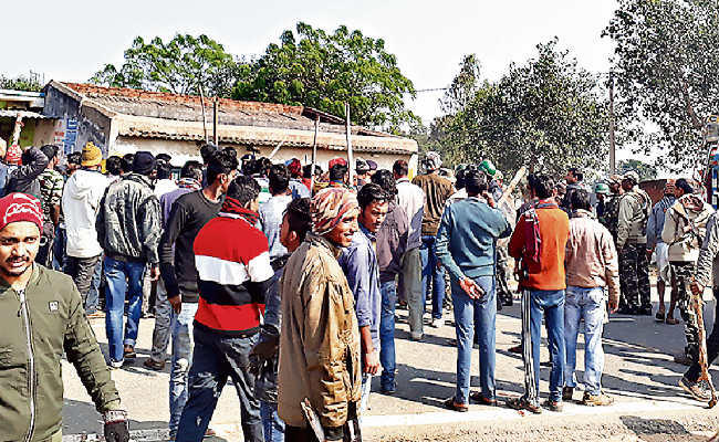 Image of Outrage of locals after incident, blocking road