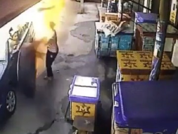 Image about Runaway Flaming Tire Nearly Killed a Woman, Video