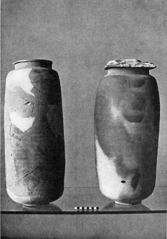 Image of Two of the pottery jars that held some of the Dead Sea Scrolls found at Qumran.