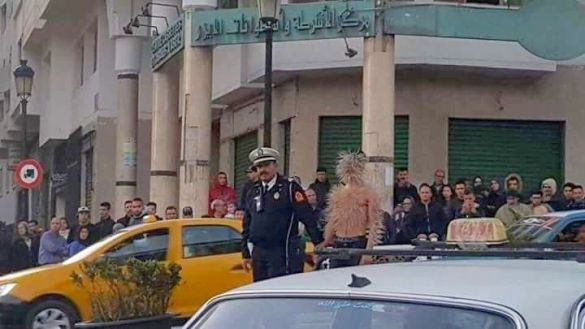 Image of Security forces intervene the Student of Institute of Fine Arts in Tetouan