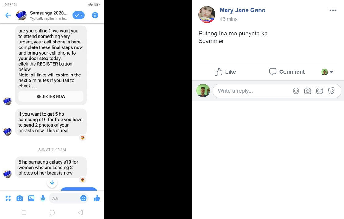 Image of Some users revealing the scam post on Facebook