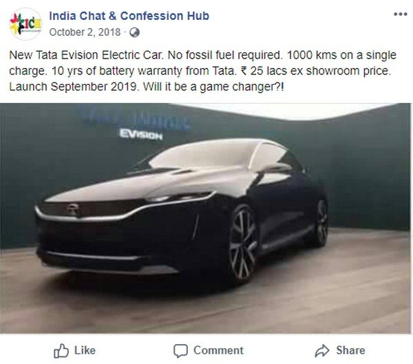 Image about Tata EVision Electric Car World Record Performance