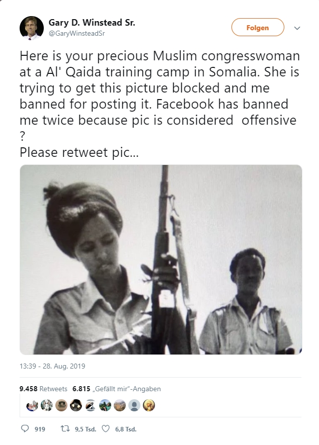 Image about U.S. Rep. Ilhan Omar Terrorist Training Photograph