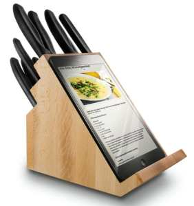 tablet holding knife block