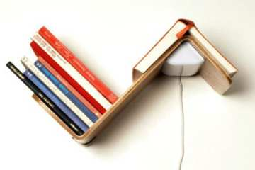 lighting fixture, shelf and bookmark