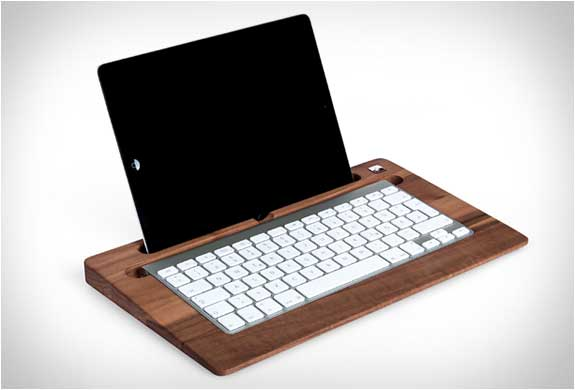 wooden table tray transforms iPad and wireless keyboard into a laptop