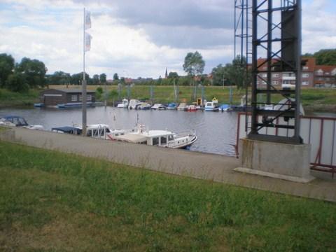 Der Hafen Dömitz, wo die Elde in die Elbe einmündet