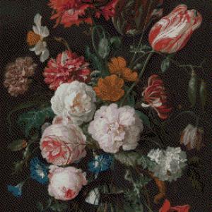 MyHobby borduurpakket - stilleven met bloemen in een glazen vaas