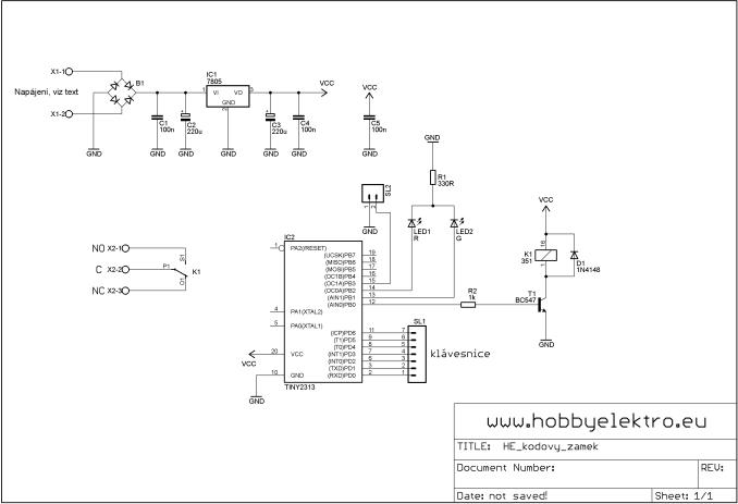 kódový zámek schéma