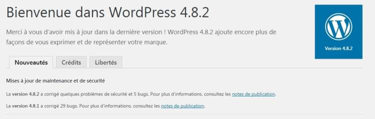 Mise à jour effectuée en WordPress 4.8.2