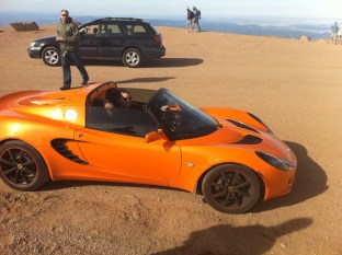 Up atop Pikes Peak, Larry rode with Eric in his Lotus