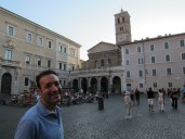 Larry in the Piazza Santa Maria in Trastevere