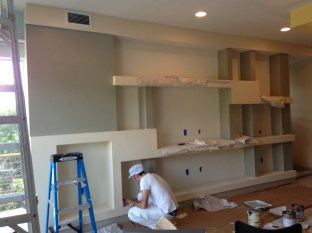 Here's the end of the grey portions. Although we then applied this color to the facing wall.