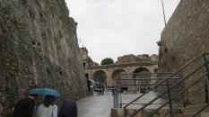Walking through a citadel towards our bus