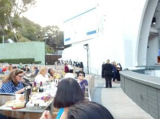 A long line of costume contest participants