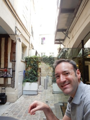 Enjoying our hotel's courtyard for a coffee