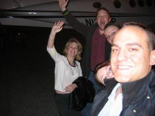 Amber, Loren, Robbie Mila and me await our heliflight