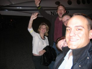 Amber, Loren, Robbie Mila and me await our heliflight
