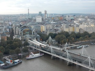The Charing Cross Station and Golden Jubilee bridges