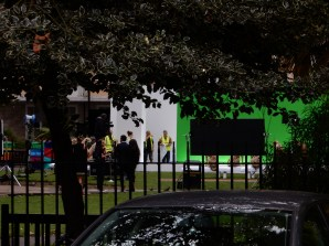 Something was getting filmed in SoHo Park today
