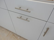 Love our flat panel cabinets and the hardware