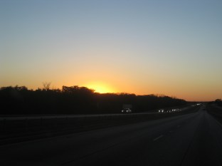 The sun sets as we keep heading to central Texas