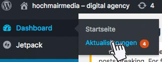 Wordpress manuell aktualisieren – Ausschnitt Dashboard