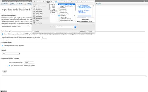 phpMyAdmin Datenbank importieren