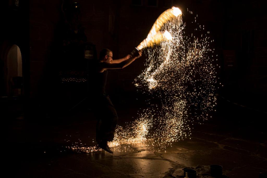 Feuershow mit Funkeneffekt