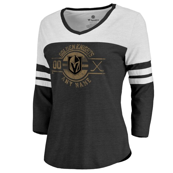 bd7a58154 Women's Vegas Golden Knights Fanatics Branded Black Personalized Insignia  Color Block 3/4 Sleeve Tri-Blend T-Shirt