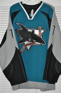 2003-04 San Jose Sharks Brad Stuart.  Obtained from team.