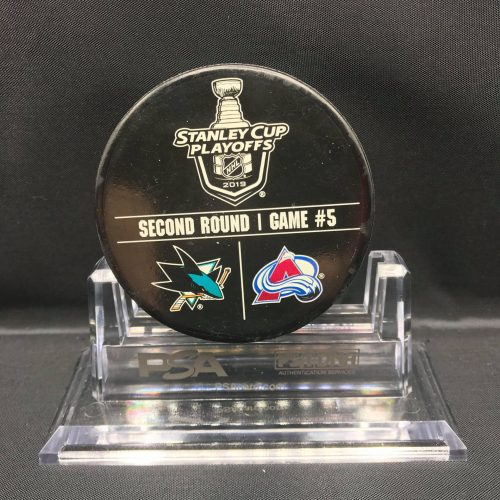 "2019 San Jose Sharks vs Colorado Avalanche SC Playoff used Warm Up Puck. Game 5. Fanatics AA0060303 Obtained from team. ""Stand not included"""