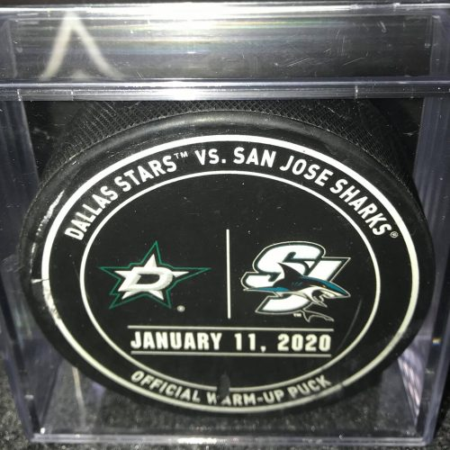 2020 San Jose Sharks vs Dallas Stars used Warm up puck.