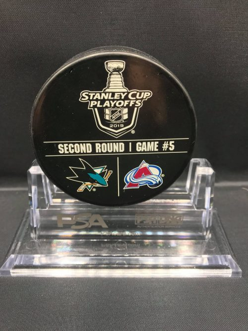 2019 San Jose Sharks vs Colorado Avalanche SC Playoff used Warm Up Puck. Game 5. Fanatics AA0060283 Obtained from team.