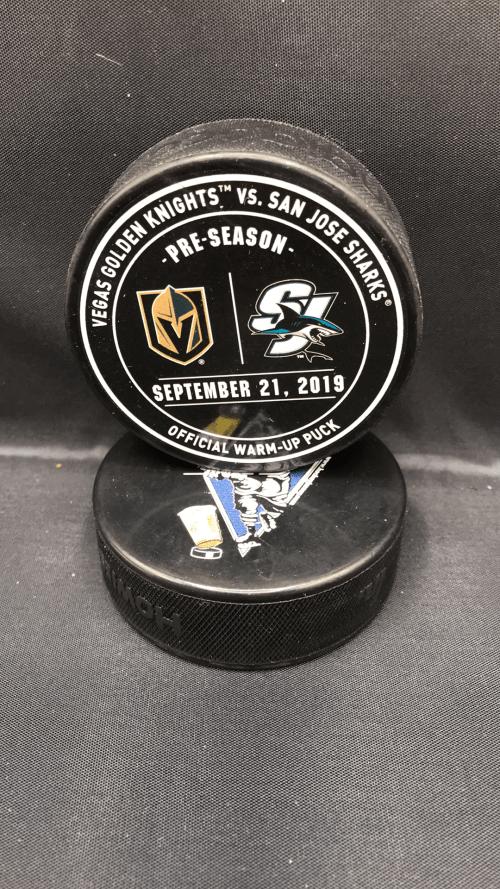 2019 San Jose Sharks vs Vegas Golden Knights Preseason Used Warm up puck. September 21 2019.