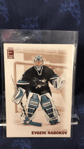 "2004 ""E"" Exhibit San Jose Sharks Hockey card. Evgeni Nabokov Card #191 3.5""x 5"""