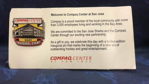 2001 Welcome To San Jose Compaq Center limited edition collectors pin.