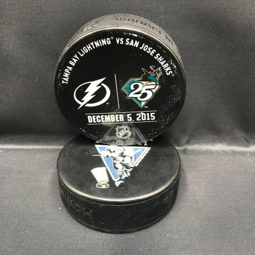 2015 San Jose Sharks vs Tampa Bay Lighting used warm up puck December 5 2015.