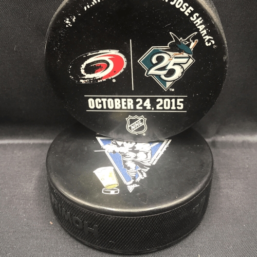 2015 San Jose Sharks vs Carolina Hurricanes Used Warm Up Puck. October 24 2015.