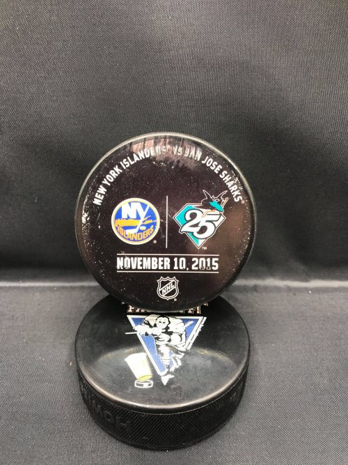 2015 San Jose Sharks vs New York Islanders November 10-2015 Used Warm Up puck. San Jose Sharks 25th anniversary.