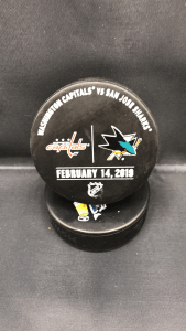 2019 San Jose Sharks vs Washington Capitals Used Warm Up Puck. February 14 2019.