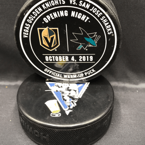 2019 San Jose Sharks vs Vegas Golden Knights Opening night used official warm up puck. October 4 2019.