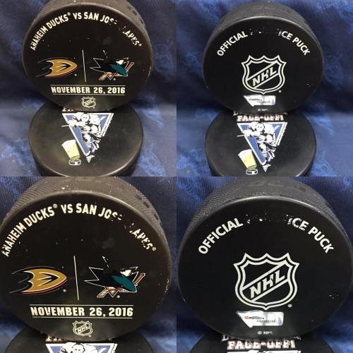2016 San Jose Sharks vs Anaheim Ducks Official Used Warm Up Puck. November 26 2016 #AA0022252