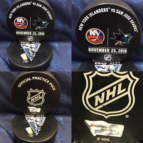 2016 San Jose Sharks vs New York Islanders Official used Warm Up Puck. November 25 2016 #AA0022234
