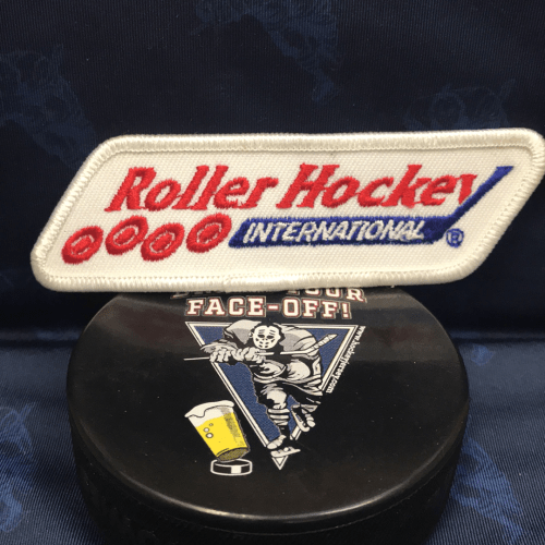 "RHI Roller Hockey patch. 4""x 1.5"" Obtained from the RHI Team Sacramento River Rats."