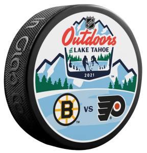 2021 Lake Tahoe Outdoor Games official puck. Boston Bruins vs Philadelphia Flyers.
