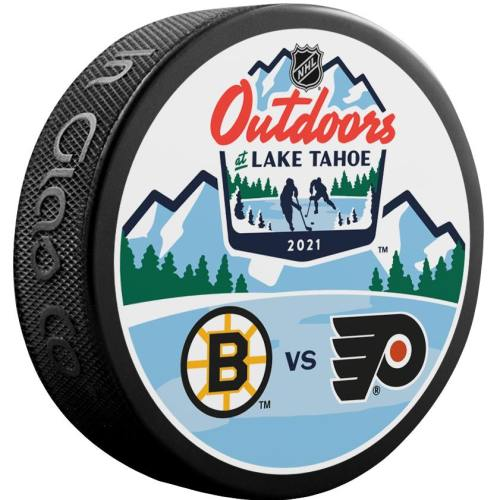 2021 Lake Tahoe Outdoor Games official puck. Boston Bruins vs Philadelphia Flyers.