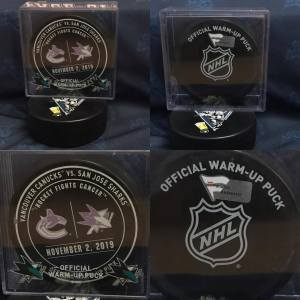 2019 San Jose Sharks vs Vancouver Canucks Official Used Warm up puck. #AA0059427 11-2-2019.